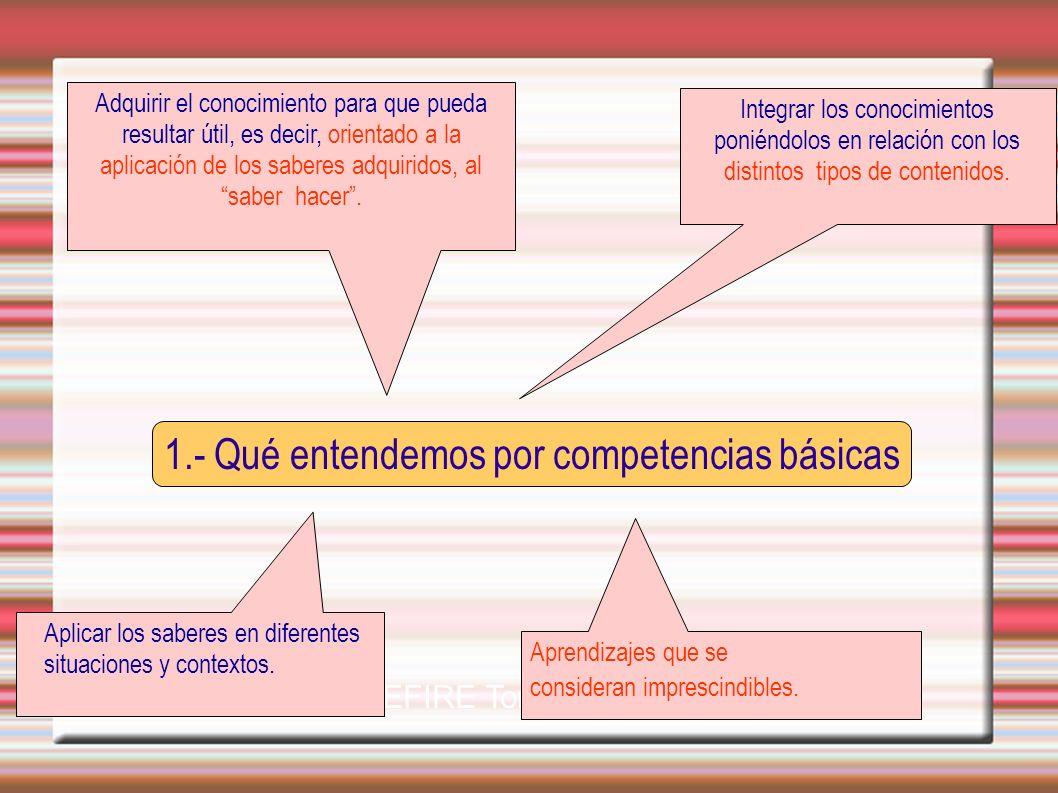 1.- Qué entendemos por competencias básicas CEFIRE Torrent-Utiel Adquirir el conocimiento para que pueda resultar útil, es decir, orientado a la aplic