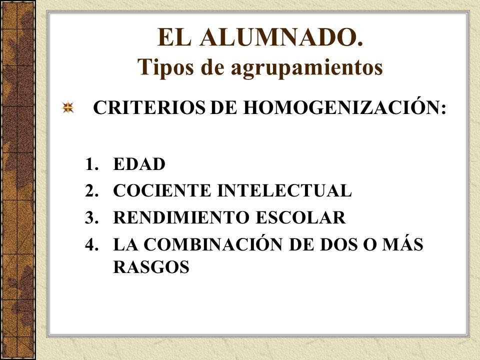 EL ALUMNADO. Tipos de agrupamientos CRITERIOS DE HOMOGENIZACIÓN: 1.EDAD 2.COCIENTE INTELECTUAL 3.RENDIMIENTO ESCOLAR 4.LA COMBINACIÓN DE DOS O MÁS RAS