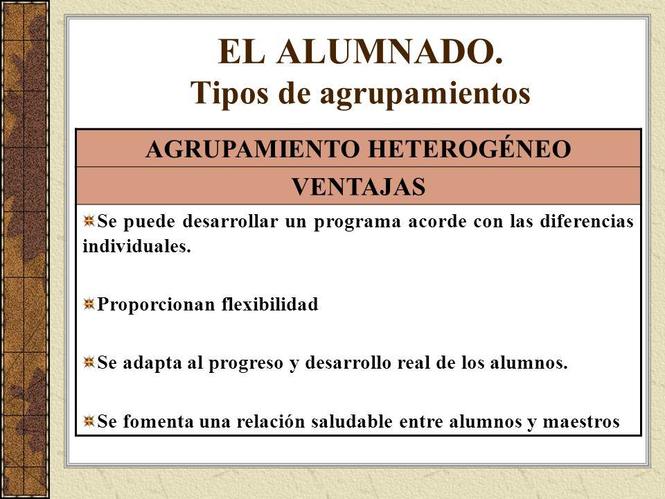 EL ALUMNADO. Tipos de agrupamientos AGRUPAMIENTO HETEROGÉNEO VENTAJAS Se puede desarrollar un programa acorde con las diferencias individuales. Propor