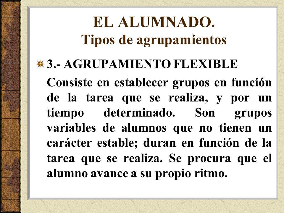 EL ALUMNADO. Tipos de agrupamientos 3.- AGRUPAMIENTO FLEXIBLE Consiste en establecer grupos en función de la tarea que se realiza, y por un tiempo det