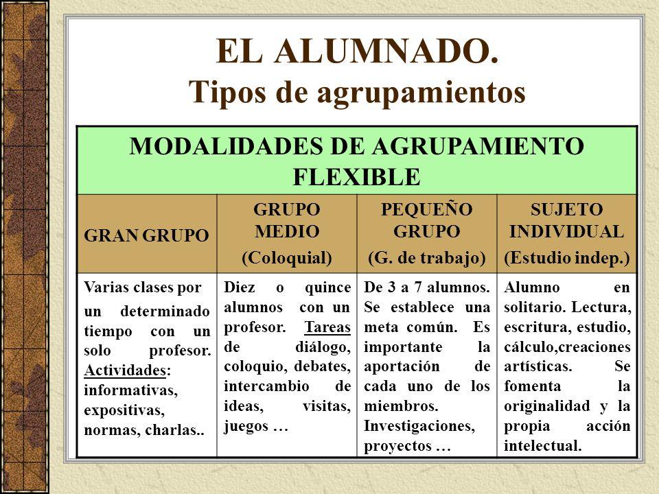 EL ALUMNADO. Tipos de agrupamientos MODALIDADES DE AGRUPAMIENTO FLEXIBLE GRAN GRUPO GRUPO MEDIO (Coloquial) PEQUEÑO GRUPO (G. de trabajo) SUJETO INDIV