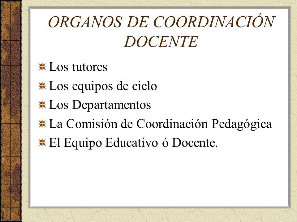 ORGANOS DE COORDINACIÓN DOCENTE Los tutores Los equipos de ciclo Los Departamentos La Comisión de Coordinación Pedagógica El Equipo Educativo ó Docent