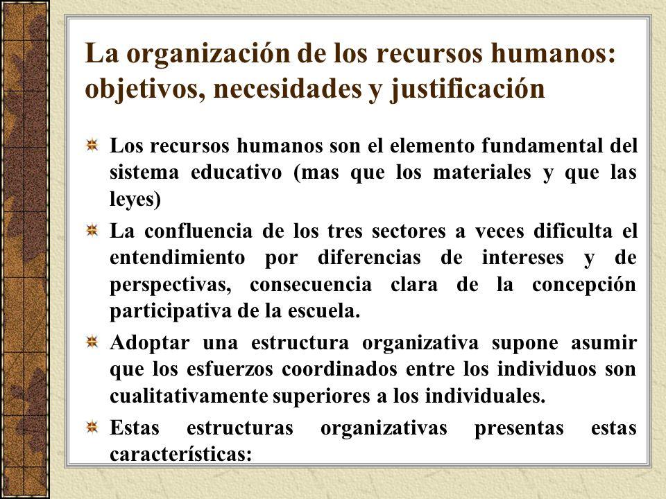 La organización de los recursos humanos: objetivos, necesidades y justificación Los recursos humanos son el elemento fundamental del sistema educativo