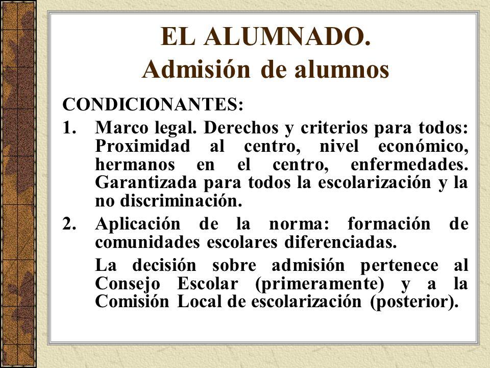 EL ALUMNADO. Admisión de alumnos CONDICIONANTES: 1.Marco legal. Derechos y criterios para todos: Proximidad al centro, nivel económico, hermanos en el