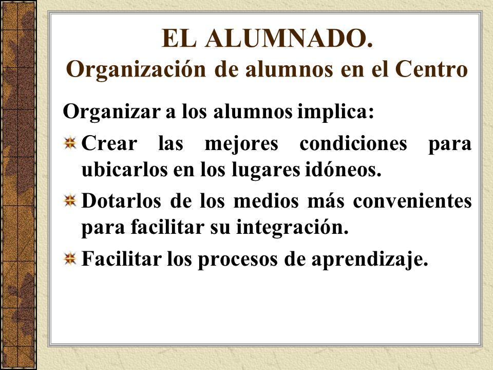EL ALUMNADO. Organización de alumnos en el Centro Organizar a los alumnos implica: Crear las mejores condiciones para ubicarlos en los lugares idóneos
