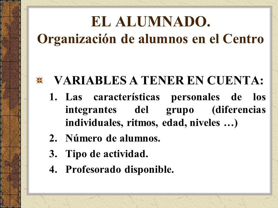 EL ALUMNADO. Organización de alumnos en el Centro VARIABLES A TENER EN CUENTA: 1.Las características personales de los integrantes del grupo (diferenc