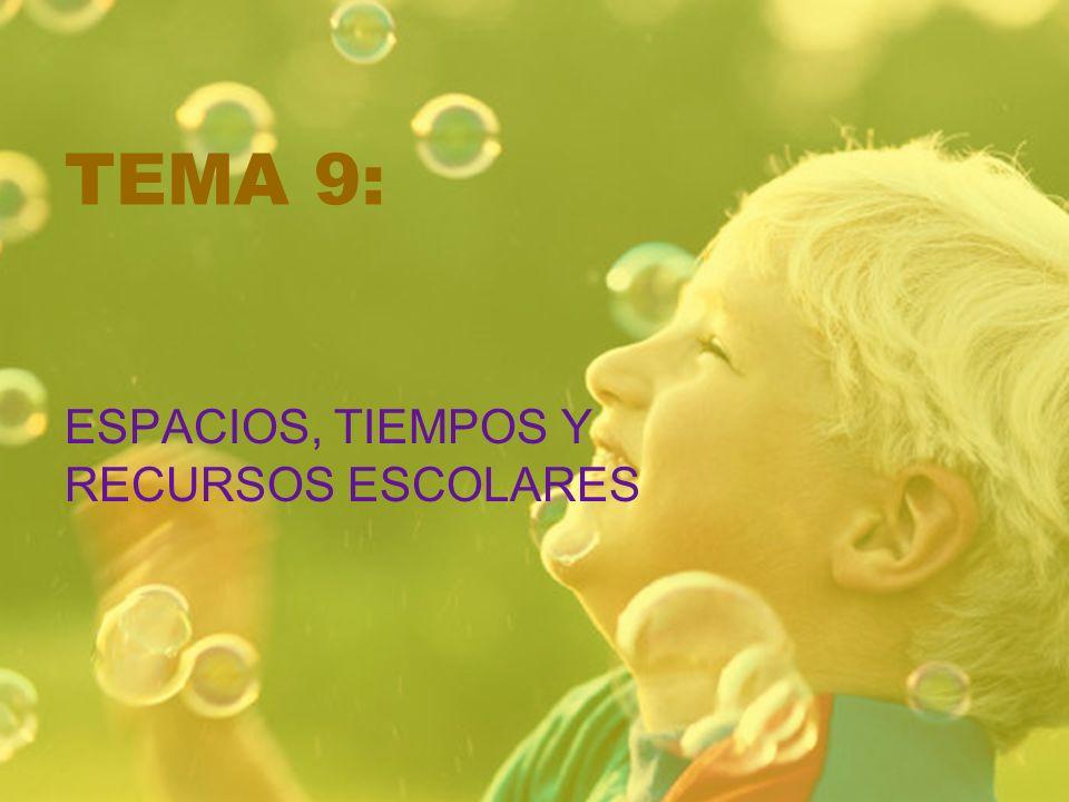 TEMA 9: ESPACIOS, TIEMPOS Y RECURSOS ESCOLARES
