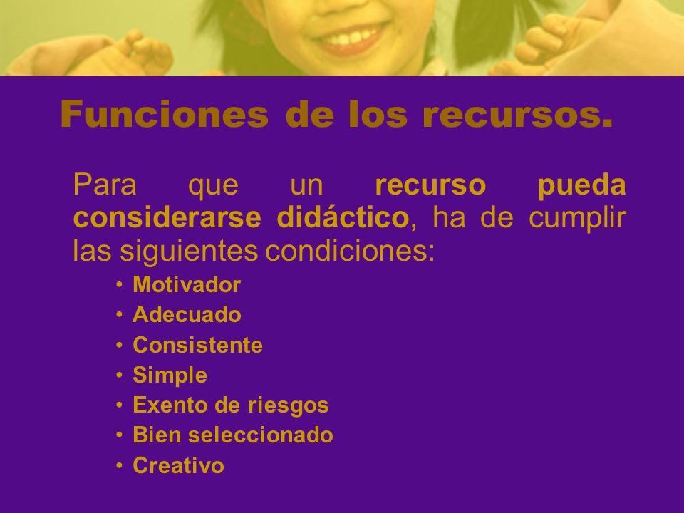 Funciones de los recursos. Para que un recurso pueda considerarse didáctico, ha de cumplir las siguientes condiciones: Motivador Adecuado Consistente