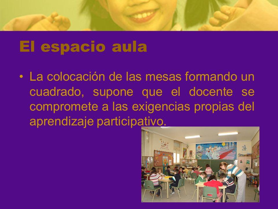 El espacio aula La colocación de las mesas formando un cuadrado, supone que el docente se compromete a las exigencias propias del aprendizaje particip