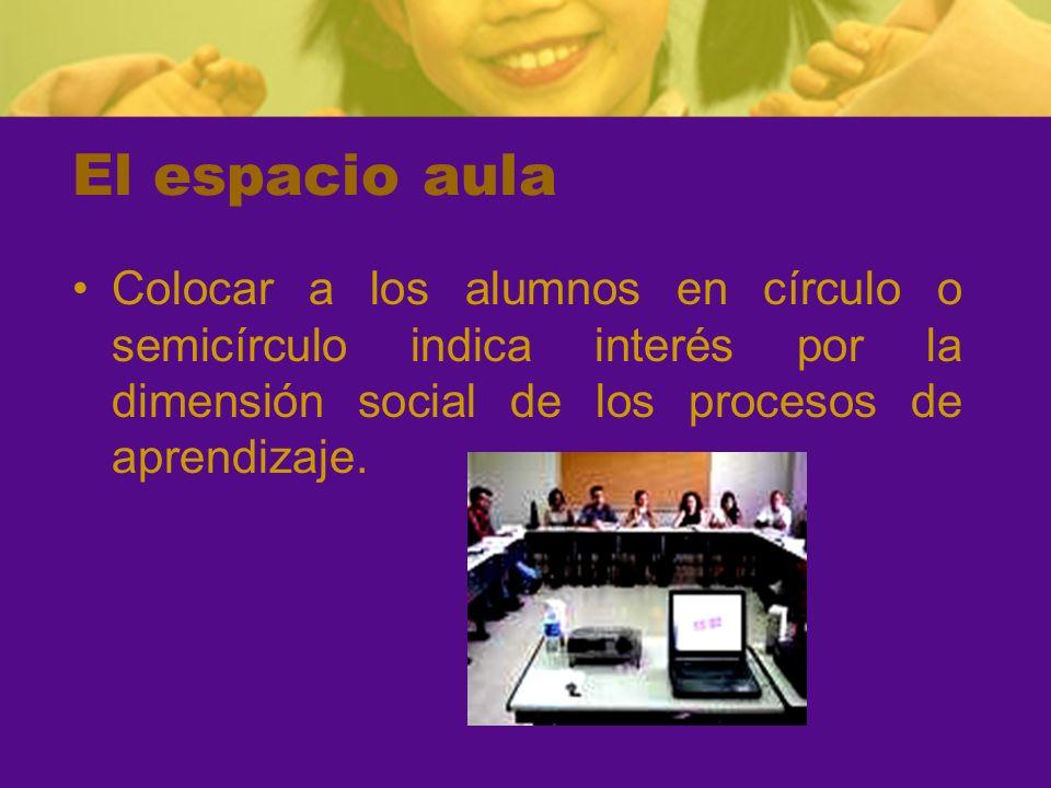 El espacio aula Colocar a los alumnos en círculo o semicírculo indica interés por la dimensión social de los procesos de aprendizaje.