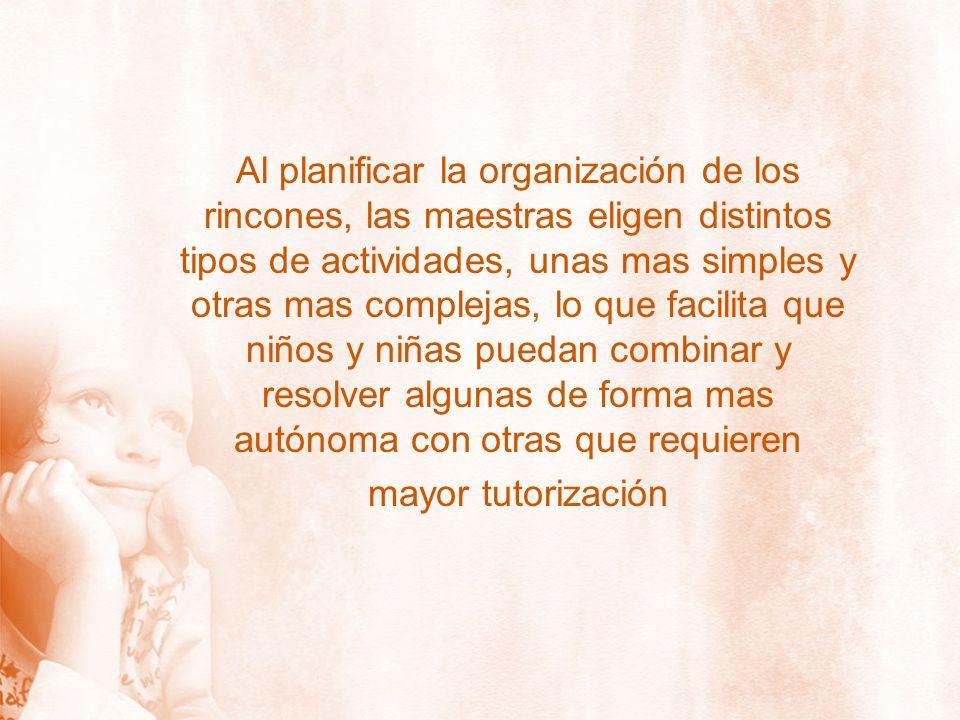 Al planificar la organización de los rincones, las maestras eligen distintos tipos de actividades, unas mas simples y otras mas complejas, lo que faci