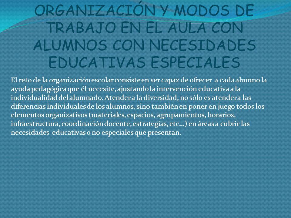 ORGANIZACIÓN Y MODOS DE TRABAJO EN EL AULA CON ALUMNOS CON NECESIDADES EDUCATIVAS ESPECIALES El reto de la organización escolar consiste en ser capaz