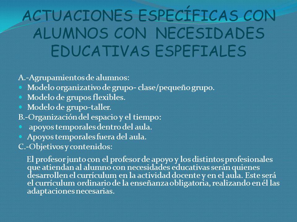 ACTUACIONES ESPECÍFICAS CON ALUMNOS CON NECESIDADES EDUCATIVAS ESPEFIALES A.-Agrupamientos de alumnos: Modelo organizativo de grupo- clase/pequeño gru