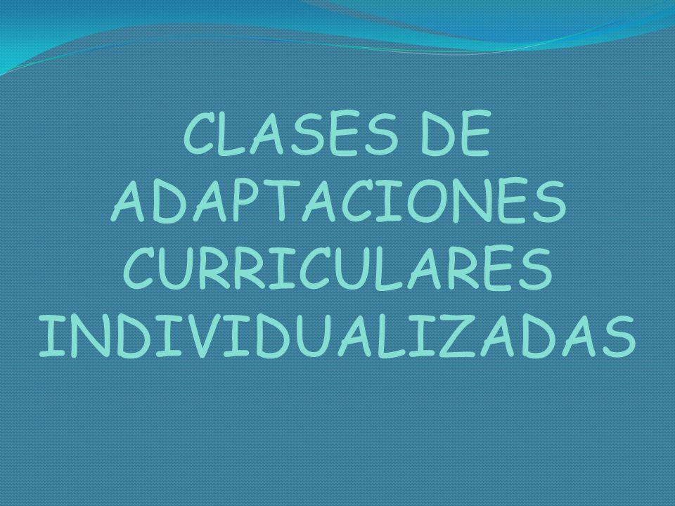 CLASES DE ADAPTACIONES CURRICULARES INDIVIDUALIZADAS