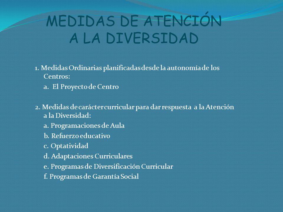 MEDIDAS DE ATENCIÓN A LA DIVERSIDAD 1. Medidas Ordinarias planificadas desde la autonomía de los Centros: a. El Proyecto de Centro 2. Medidas de carác