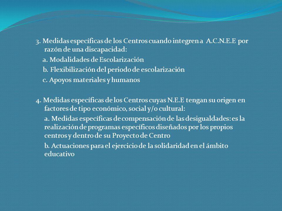 3. Medidas específicas de los Centros cuando integren a A.C.N.E.E por razón de una discapacidad: a. Modalidades de Escolarización b. Flexibilización d