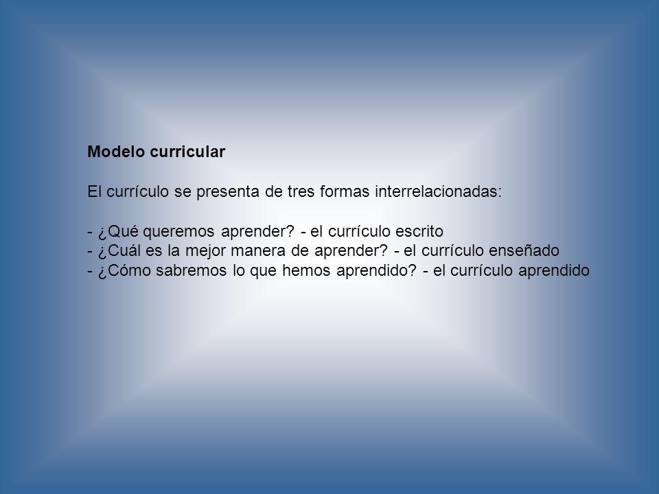 Modelo curricular El currículo se presenta de tres formas interrelacionadas: - ¿Qué queremos aprender? - el currículo escrito - ¿Cuál es la mejor mane
