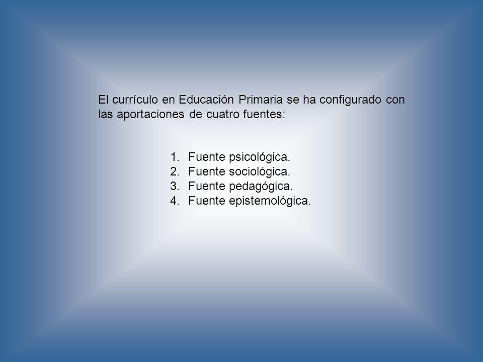 El currículo en Educación Primaria se ha configurado con las aportaciones de cuatro fuentes: 1.Fuente psicológica. 2.Fuente sociológica. 3.Fuente peda