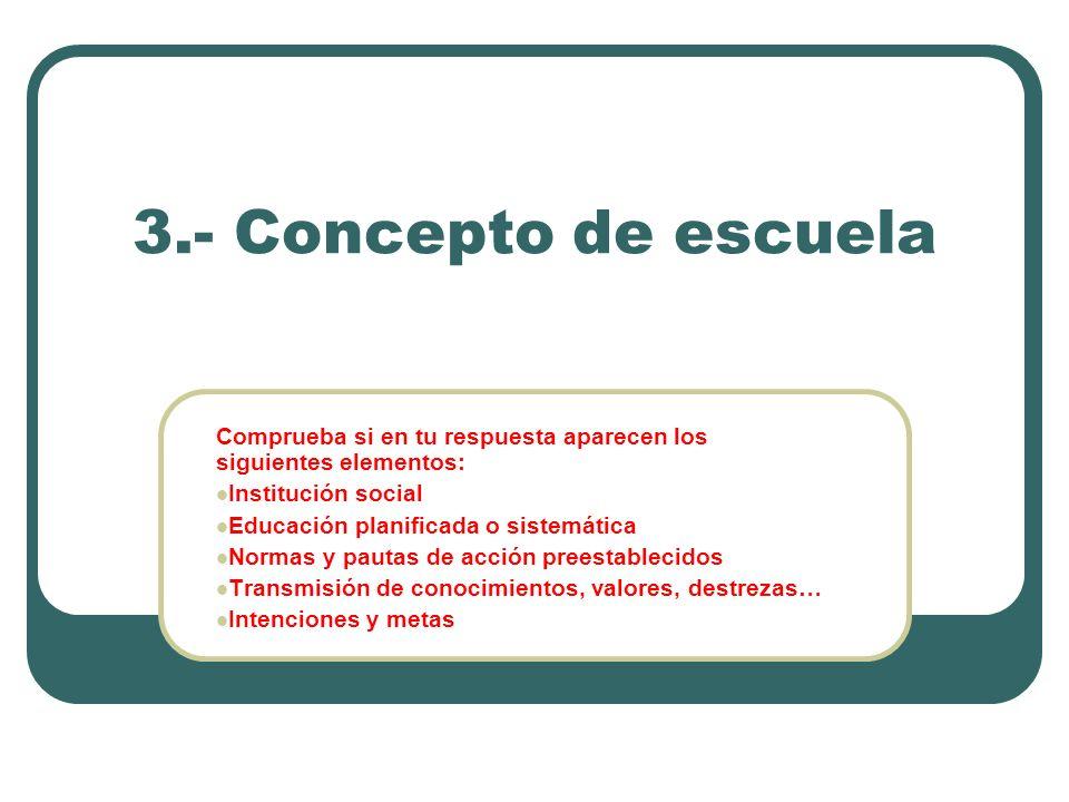 3.- Concepto de escuela Comprueba si en tu respuesta aparecen los siguientes elementos: Institución social Educación planificada o sistemática Normas