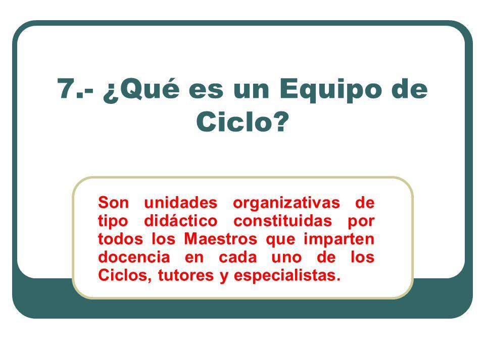 7.- ¿Qué es un Equipo de Ciclo? Son unidades organizativas de tipo didáctico constituidas por todos los Maestros que imparten docencia en cada uno de