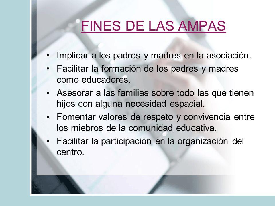 FINES DE LAS AMPAS Implicar a los padres y madres en la asociación.