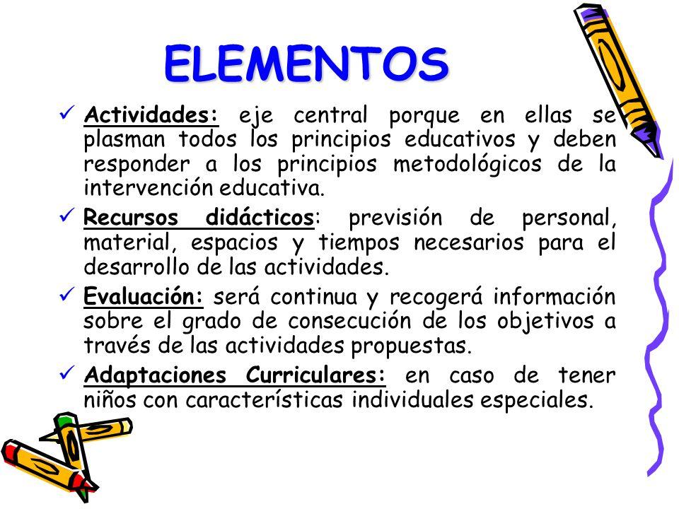 ELEMENTOS Actividades: eje central porque en ellas se plasman todos los principios educativos y deben responder a los principios metodológicos de la i