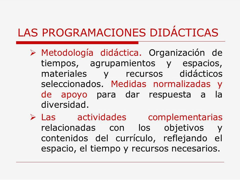 LAS PROGRAMACIONES DIDÁCTICAS Metodología didáctica. Organización de tiempos, agrupamientos y espacios, materiales y recursos didácticos seleccionados