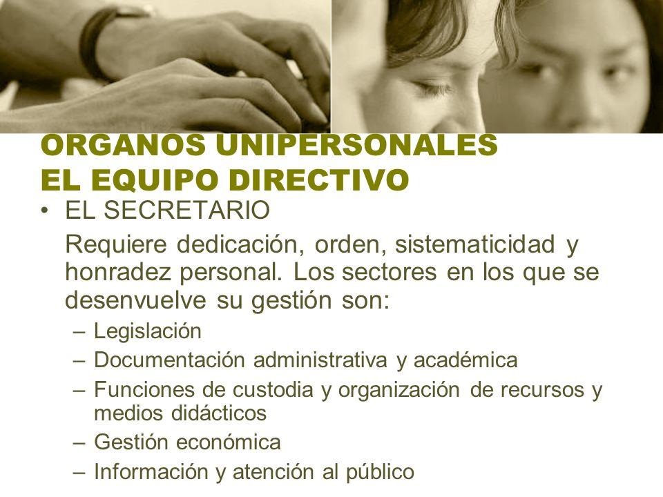 ORGANOS UNIPERSONALES EL EQUIPO DIRECTIVO EL SECRETARIO Requiere dedicación, orden, sistematicidad y honradez personal. Los sectores en los que se des