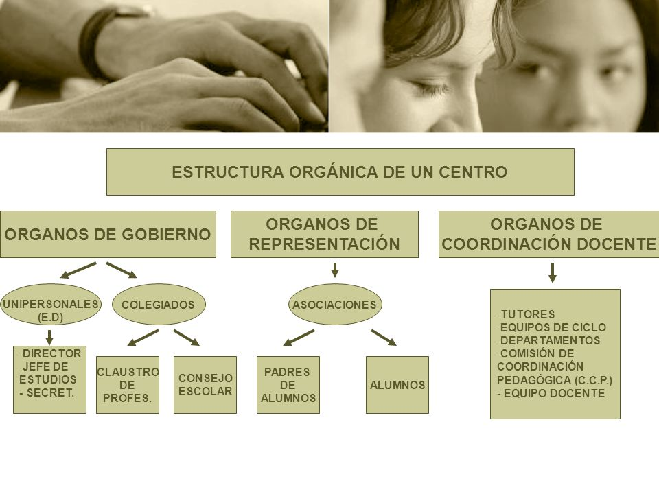 ESTRUCTURA ORGÁNICA DE UN CENTRO ORGANOS DE GOBIERNO ORGANOS DE REPRESENTACIÓN ORGANOS DE COORDINACIÓN DOCENTE UNIPERSONALES (E.D) COLEGIADOS -DIRECTO