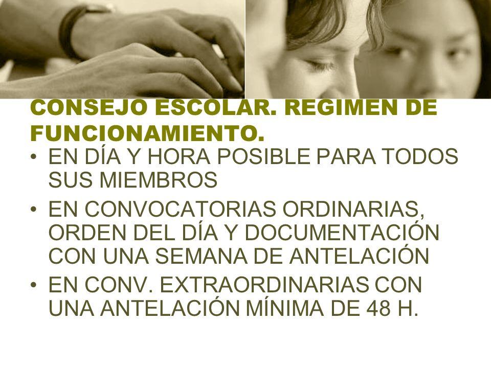 CONSEJO ESCOLAR.REGIMEN DE FUNCIONAMIENTO.
