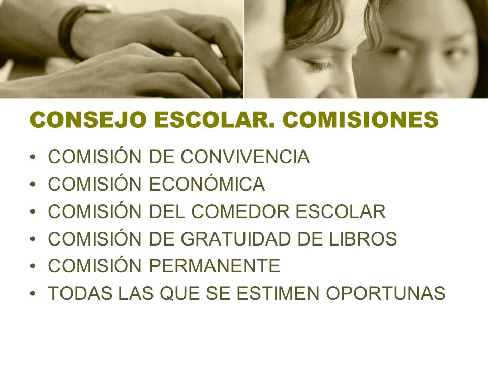 CONSEJO ESCOLAR. COMISIONES COMISIÓN DE CONVIVENCIA COMISIÓN ECONÓMICA COMISIÓN DEL COMEDOR ESCOLAR COMISIÓN DE GRATUIDAD DE LIBROS COMISIÓN PERMANENT