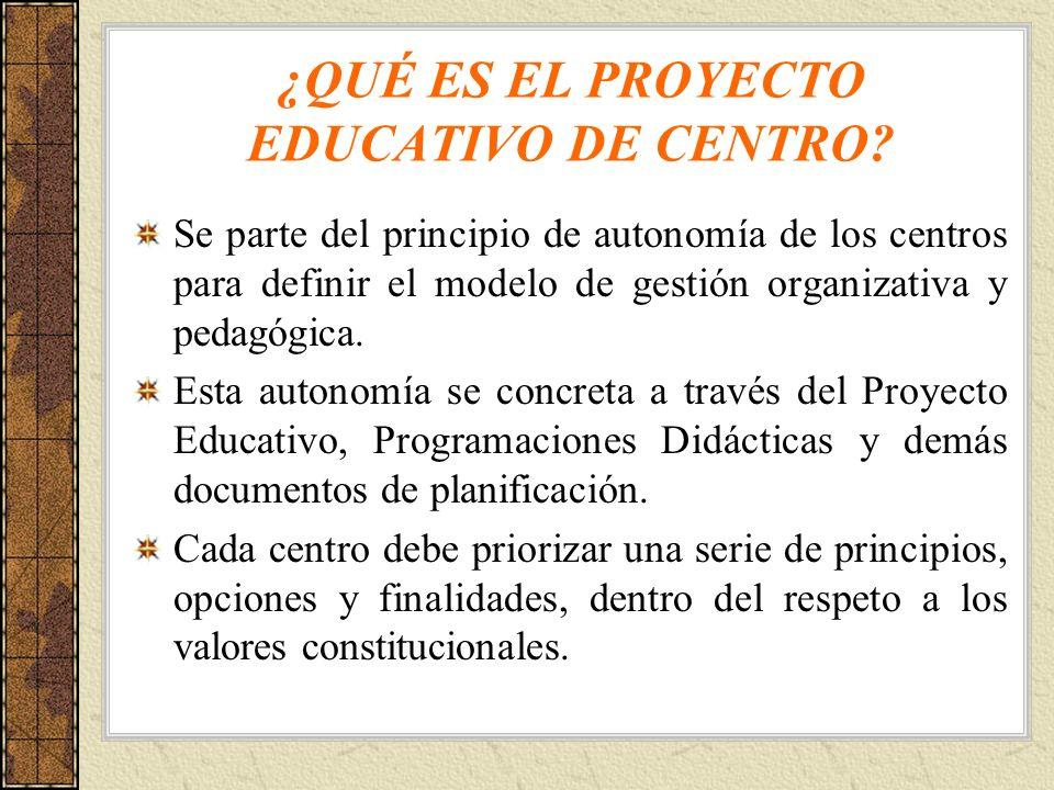 ¿QUÉ ES EL PROYECTO EDUCATIVO DE CENTRO? Se parte del principio de autonomía de los centros para definir el modelo de gestión organizativa y pedagógic