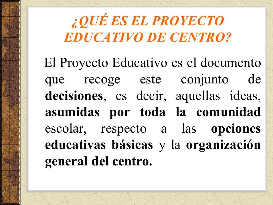 ¿QUÉ ES EL PROYECTO EDUCATIVO DE CENTRO? El Proyecto Educativo es el documento que recoge este conjunto de decisiones, es decir, aquellas ideas, asumi