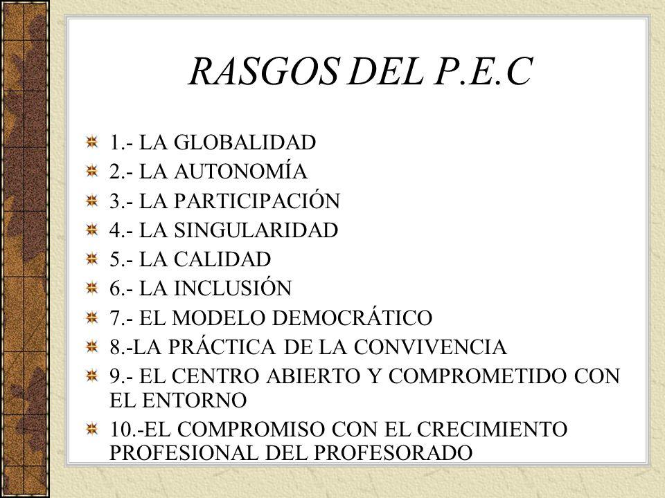 RASGOS DEL P.E.C 1.- LA GLOBALIDAD 2.- LA AUTONOMÍA 3.- LA PARTICIPACIÓN 4.- LA SINGULARIDAD 5.- LA CALIDAD 6.- LA INCLUSIÓN 7.- EL MODELO DEMOCRÁTICO
