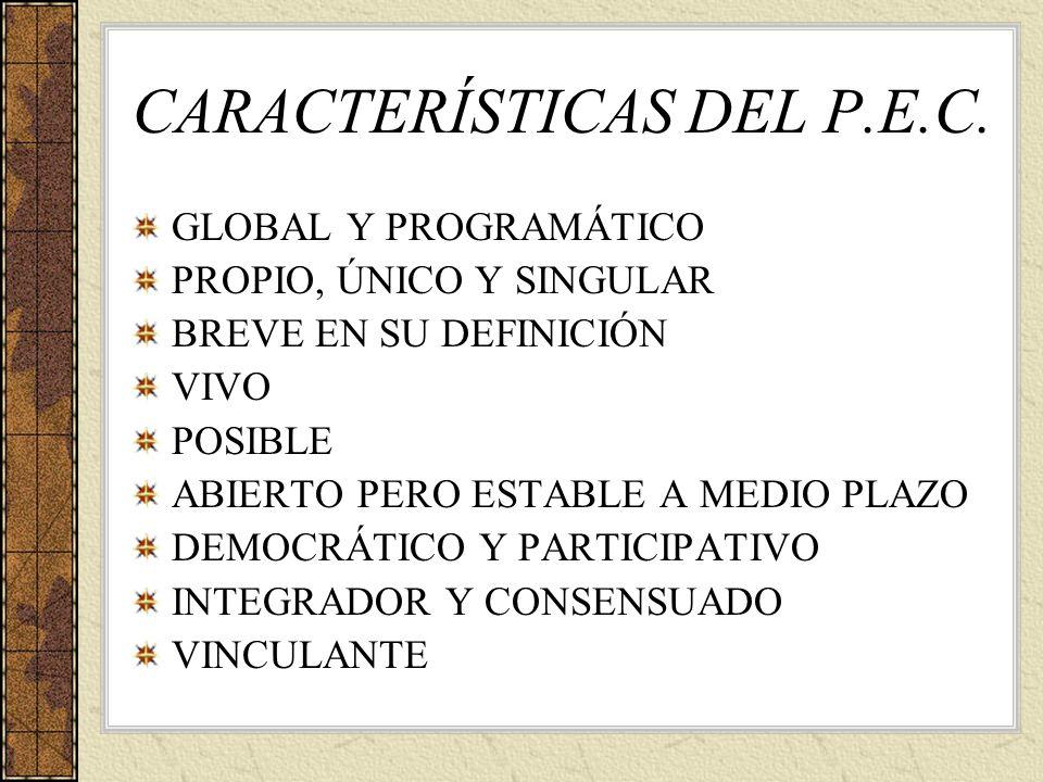 CARACTERÍSTICAS DEL P.E.C. GLOBAL Y PROGRAMÁTICO PROPIO, ÚNICO Y SINGULAR BREVE EN SU DEFINICIÓN VIVO POSIBLE ABIERTO PERO ESTABLE A MEDIO PLAZO DEMOC