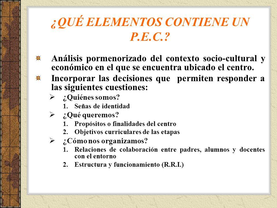 ¿QUÉ ELEMENTOS CONTIENE UN P.E.C.? Análisis pormenorizado del contexto socio-cultural y económico en el que se encuentra ubicado el centro. Incorporar