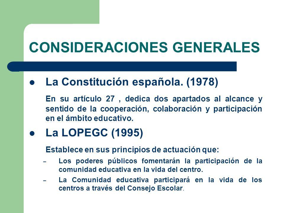 CONSIDERACIONES GENERALES La Constitución española.