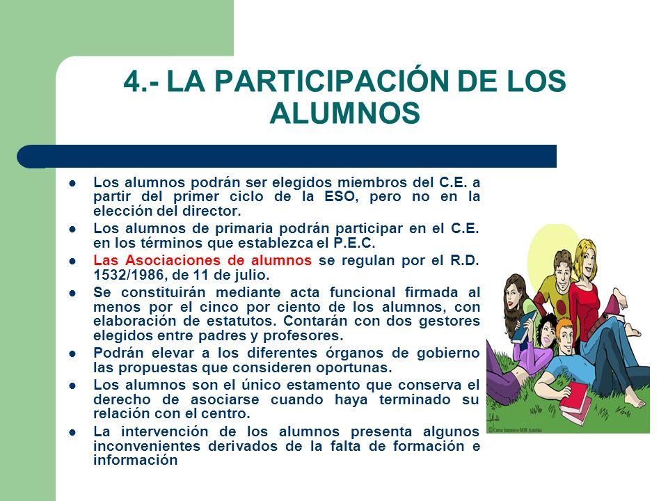 4.- LA PARTICIPACIÓN DE LOS ALUMNOS Los alumnos podrán ser elegidos miembros del C.E.