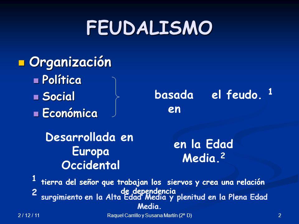 2 / 12 / 11 2Raquel Carrillo y Susana Martín (2º D) FEUDALISMO Organización Organización Política Política Social Social Económica Económica basada en