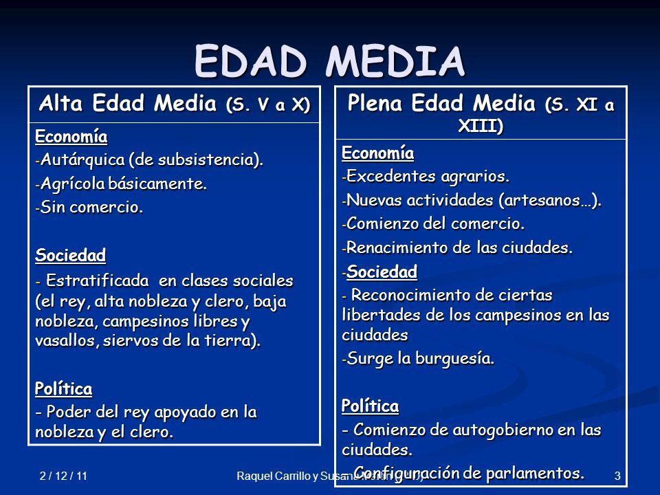 2 / 12 / 11 3Raquel Carrillo y Susana Martín (2º D) EDAD MEDIA Alta Edad Media (S. V a X) Economía - Autárquica (de subsistencia). - Agrícola básicame