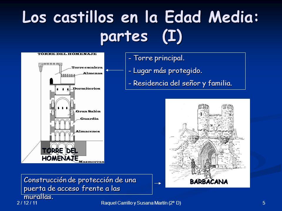 2 / 12 / 11 6Raquel Carrillo y Susana Martín (2º D) Los castillos en la Edad Media: partes (II) PUENTE LEVADIZO FOSO Trinchera excavada frente a los muros para impedir acercarse a las máquinas de asalto.