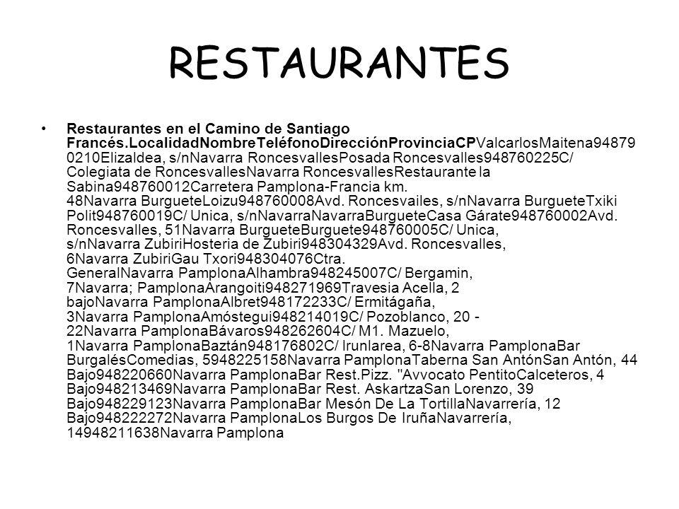 RESTAURANTES Restaurantes en el Camino de Santiago Francés.LocalidadNombreTeléfonoDirecciónProvinciaCPValcarlosMaitena94879 0210Elizaldea, s/nNavarra