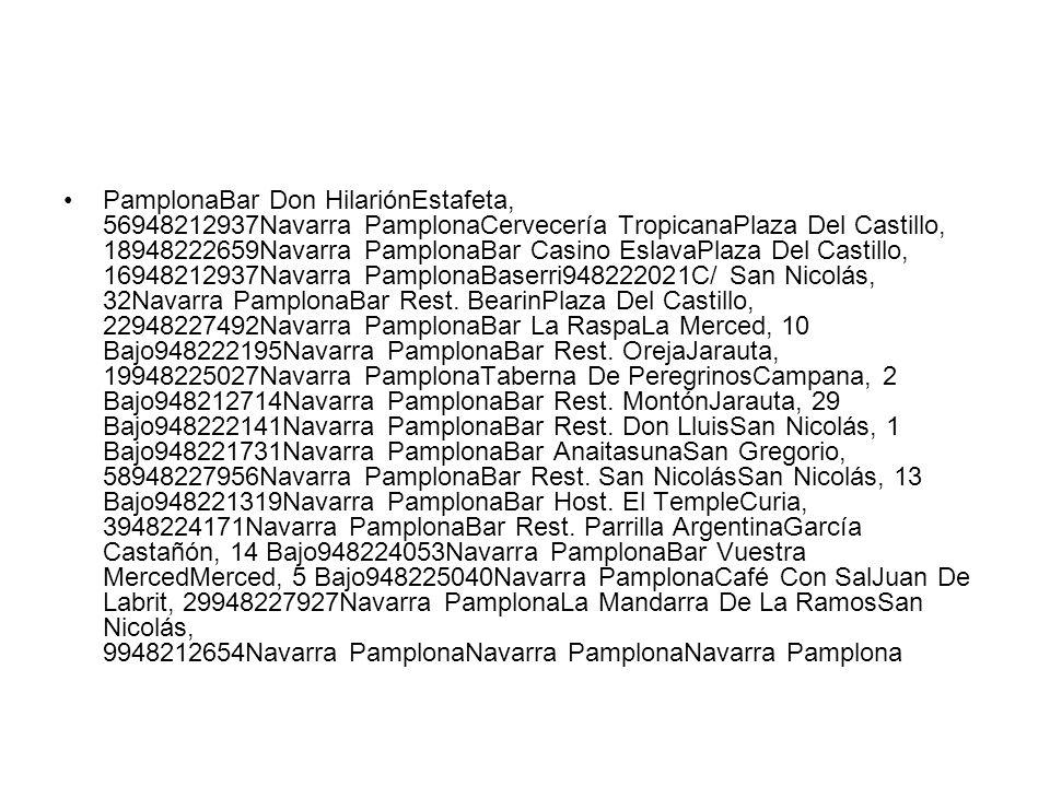 PamplonaBar Don HilariónEstafeta, 56948212937Navarra PamplonaCervecería TropicanaPlaza Del Castillo, 18948222659Navarra PamplonaBar Casino EslavaPlaza