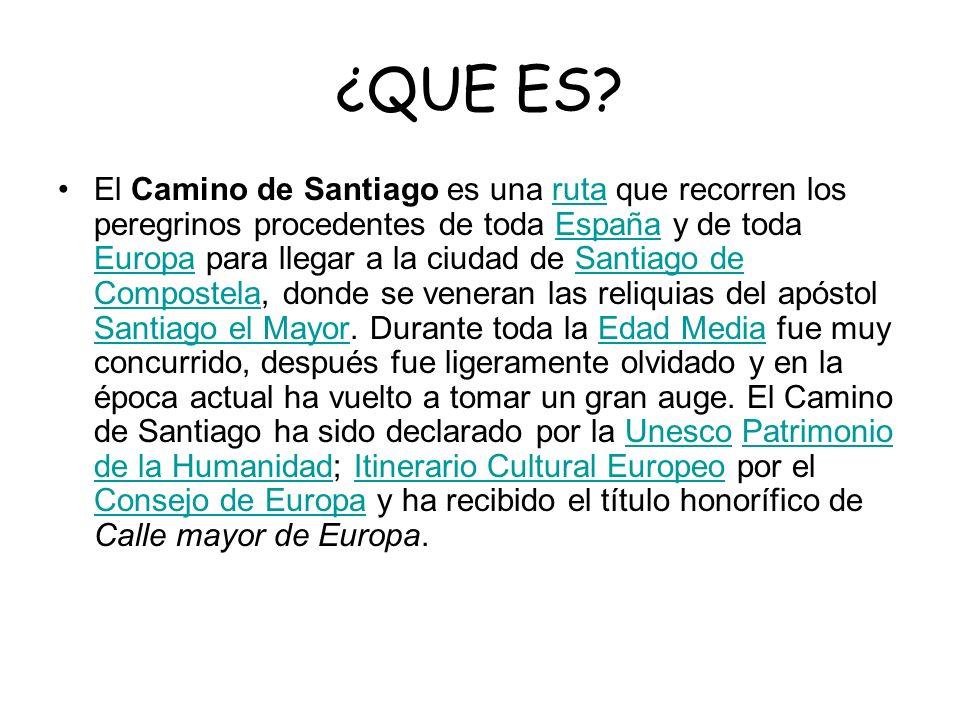 ¿QUE ES? El Camino de Santiago es una ruta que recorren los peregrinos procedentes de toda España y de toda Europa para llegar a la ciudad de Santiago