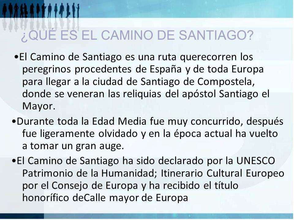 ¿QUÉ ES EL CAMINO DE SANTIAGO? El Camino de Santiago es una ruta querecorren los peregrinos procedentes de España y de toda Europa para llegar a la ci