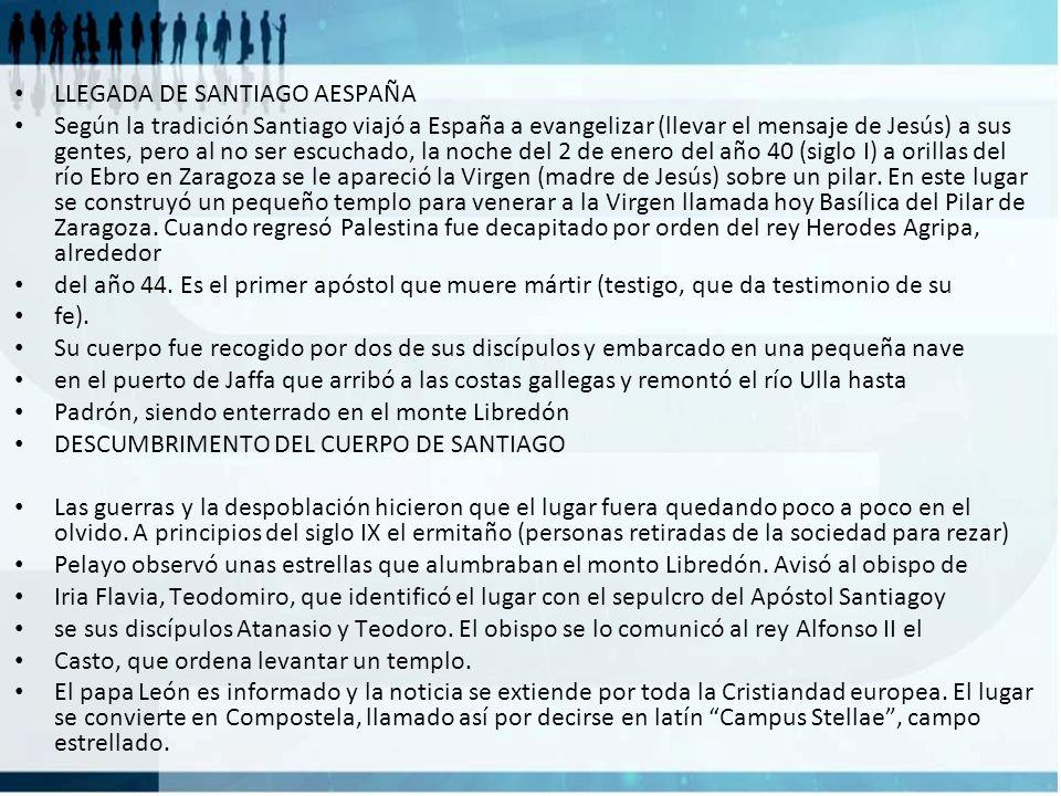 LLEGADA DE SANTIAGO AESPAÑA Según la tradición Santiago viajó a España a evangelizar (llevar el mensaje de Jesús) a sus gentes, pero al no ser escucha