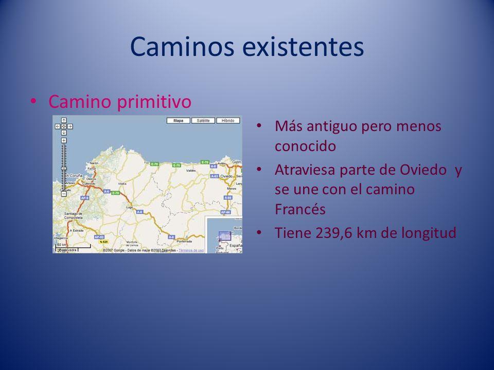 Caminos existentes Camino primitivo Más antiguo pero menos conocido Atraviesa parte de Oviedo y se une con el camino Francés Tiene 239,6 km de longitu