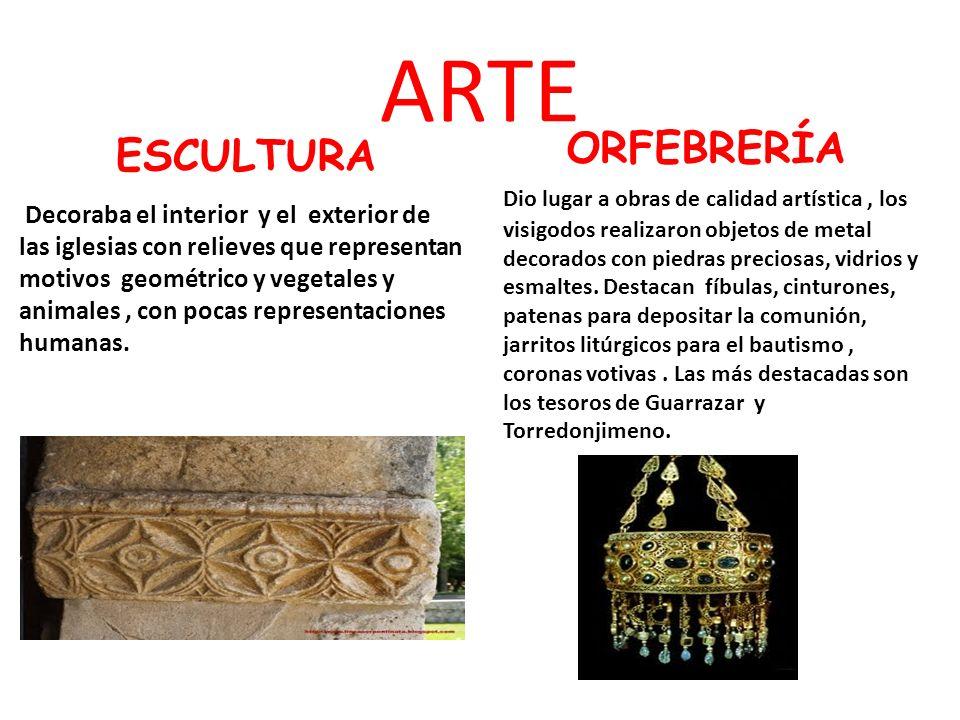 Decoraba el interior y el exterior de las iglesias con relieves que representan motivos geométrico y vegetales y animales, con pocas representaciones
