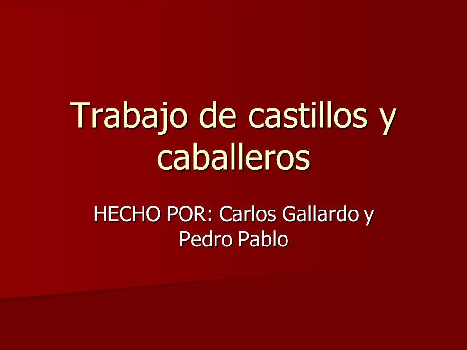 Trabajo de castillos y caballeros HECHO POR: Carlos Gallardo y Pedro Pablo