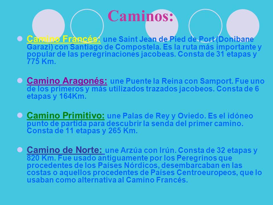 Caminos: Camino Francés: une Saint Jean de Pied de Port (Donibane Garazi) con Santiago de Compostela.